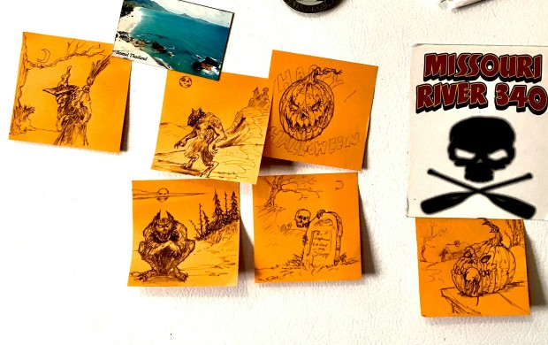 Halloween Post-It sketches